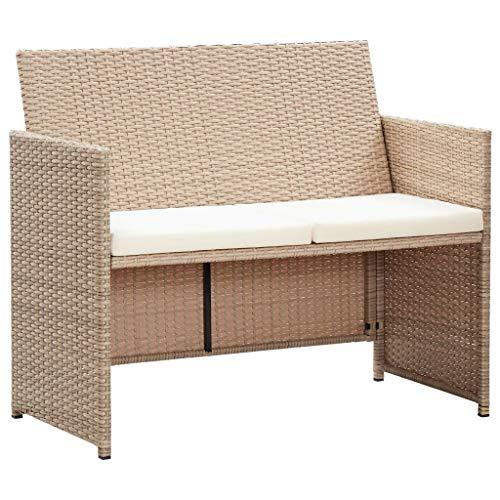 vidaXL Gartensofa 2-Sitzer mit Polstern Loungesofa Sofa Gartenbank Gartenmöbel Bank Sitzbank Rattansofa Lounge Garnitur Grau Poly Rattan