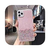ラグジュアリーリングブラケットブリンブリングリッターシリコンフォンケースFor iPhone 12 11 Pro Max SE XS XR X 8 7 6Plus超薄型スパンコールカバー-Pink Not Ring-For iPhone 11Pro