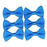 YAKA 100PC Grosgrain Ribbon Mini Bow Ties Craft,Scrapbooking Embellishmen DIY Projects,Bowties Decorations for DIY Kids Hair Clips,Pets Hair Bows(1.5') Blue