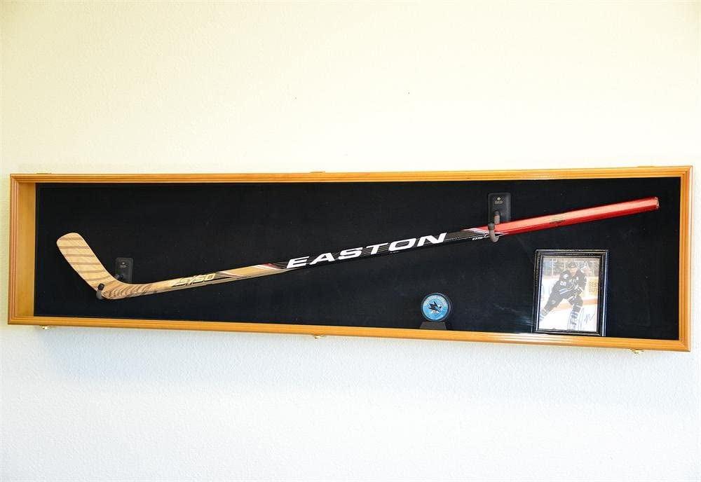 Hockey Stick Puck Display Case Rack Holder Full Size Wall Mounte