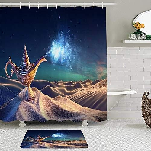 VINISATH Juego de Cortinas de Ducha con Alfombra de baño,Lámpara del Genio de Aladino en el Desierto Linterna mágica Humo Deseo de fantasía Suerte misteriosa Mitología Noches árabes Cuento de Hadas