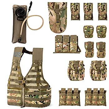 Rifleman Set Military Fighting Load Carrier Vest and Army FLC Pouches Multicam