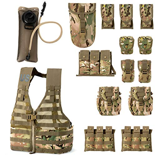 Rifleman Set, Military Fighting Load Carrier Vest and Army FLC Pouches Multicam