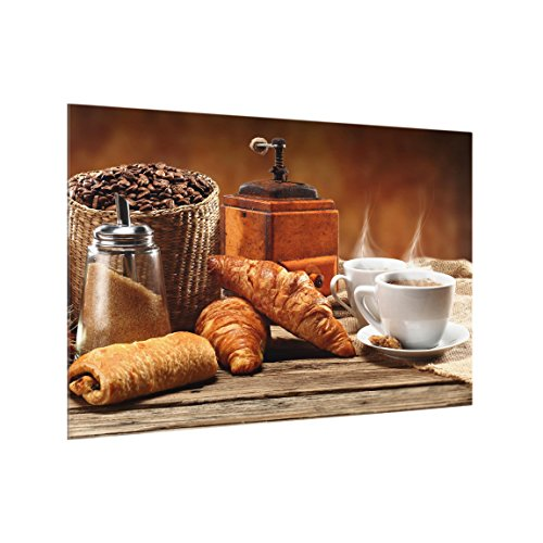 Bilderwelten Panel antisalpicaduras de Cristal - Breakfast Table - Horizontal 2:3, Panel antisalpicaduras Panel de Vidrio para Cocina Protector contra Salpicaduras, Tamaño: 59cm x 90cm