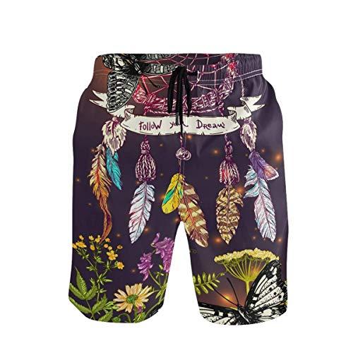 Troncos de natación para Hombre Atrapasueños Flor de Mariposa Pantalones Cortos de Playa Boho Pantalones Cortos Casuales Anti-decoloración para Piscina de Playa