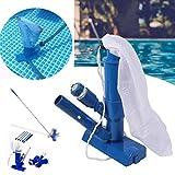 Juego de aspiradora portátil de mano para Jet de piscina, aspirador submarino con cepillo, bolsa, poste de 4 secciones (48 pulgadas) para piscinas fuera de tierra, spas, estanques y fuentes