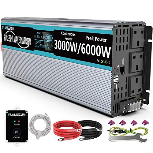 Inversor de corriente de 3000 vatios de 48 V a 230 V, inversor de onda sinusoidal pura, doble 230 voltios enchufes de CA británico/británico, kit convertidor de CC a CA