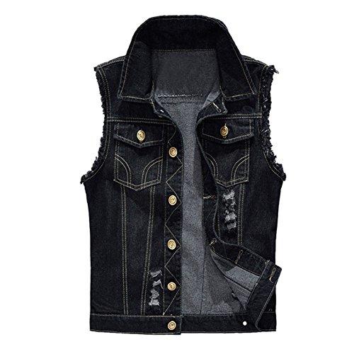 semen Herren Ärmellose Zerrissene Jeans Weste Fit Beiläufige Cowboy Denim Jacke Weste Slim Fit Beiläufige Weste Jeansweste (L, Schwarz)