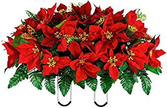 Sympathy Silks Artificial Cemetery Flowers - Red Poinsettia Saddle for Headstone