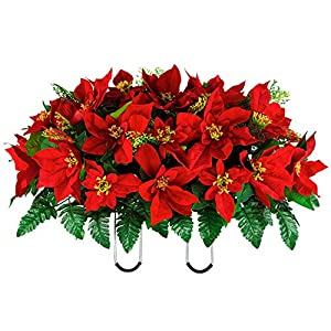 Sympathy Silks Artificial Cemetery Flowers – Red Poinsettia Saddle for Headstone