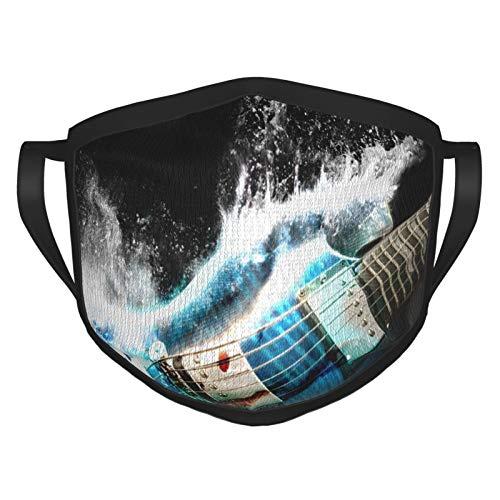 TRUJDNS Gesichtsbedeckung Gitarren Airbrush Gemälde Digital Art Waves Splash Mund Abdeckung Waschbar Tuch Sportmaske für Männer Frauen Radfahren Camping Reisen