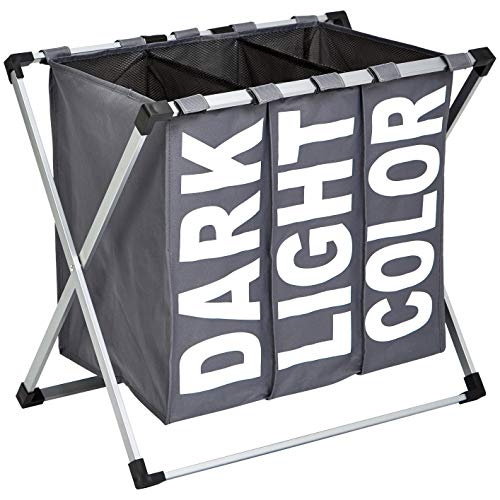 Amazon Basics - Dreifacher Wäschekorb, Dunkelgrau