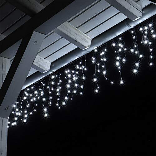 Tenda Luce LED Colore Bianco Freddo Esterno Tenda Luminosa a Cascata Illuminazione Natale 12 Metri...