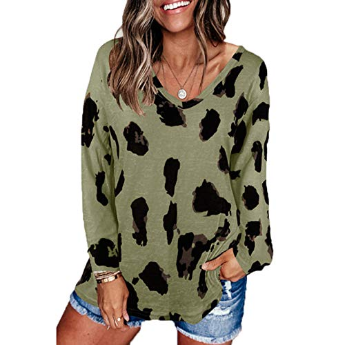 SLYZ Damas Europeas Y Americanas Primavera Estampado De Leopardo Personalizado Blusa Suelta De Manga Corta Camiseta