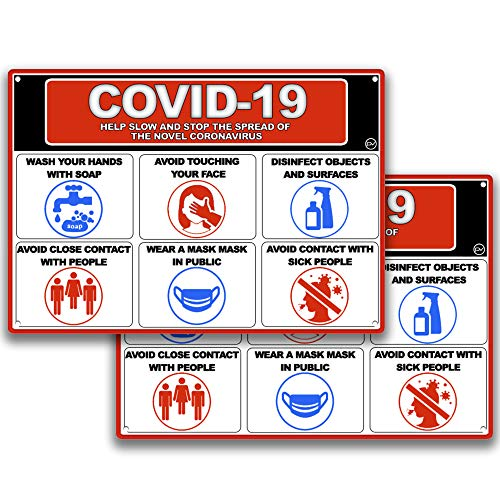 COVID 19 Help Stop The Spread Sign, for Indoor or Outdoor Use - 2 Signs, Hard Plastic Durable Plastic with Holes, Wash Hands, Avoid touching Face, Disinfect, Avoid Close Contact, Wear Mask Sign, Avoid Sick People 10 x 7