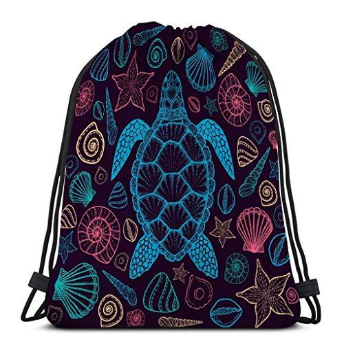 Drawstring Bag Rucksack Drawstring Bag sea Turtle Shells line Art Style Hand Drawn top View Coloring Book Set oceanDrawstring Backpack 36X43CM