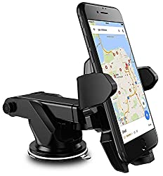 Alexvyan One Touch Car Mobile Holder/Stand Adjustable with Windshield/Dashboard/Working Desk Mount with Quick One Touch Technology for Mobile Phones