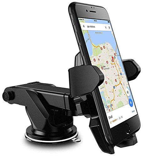 AlexVyan Car Mobile Holder/Stand Adjustable with Windshield/Dashboard/Working Desk Mount with Quick One Touch Technology for Mobile Phone -2020