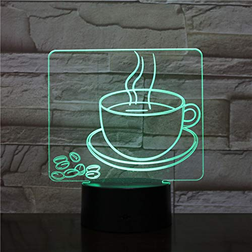 Coffee Cup Night Light Led 3D Visual Table Lamp 7 Color Changing Bedside Light Fixture Gifts Sleep Lighting Restaurant Decor
