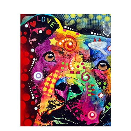 DIY pintura al óleo de lienzo Perro animal pintado abstracto - Pintura por Números La pintura al óleo artística de bricolaje sobre lienzo es un regalo de creatividad - 40 x 50 CM (Sin Marco)