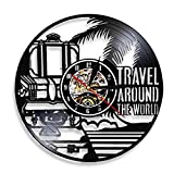 LKJHGU Reloj de Pared de Vinilo de Viaje Global Reloj de Pared de Vinilo de Viaje de Viaje Disco de Vinilo Reloj de Pared de Vinilo de Viaje decoración Reloj de Pared de Vinilo de diseño Moderno