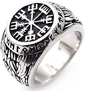 خواتم فايكينج رجالية عتيقة فالكنات بيرات بتصميم البوصلة عليها نص ورمز اسكندنافية الشمالية من الستانلس ستيل