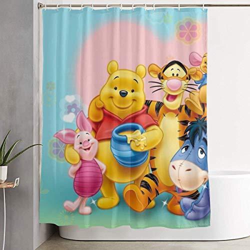eneric Lustiger Stoff Duschvorhang Winnie Pooh Fre&e wasserdichtes Badezimmer Dekor mit Haken 60 x 72 Zoll