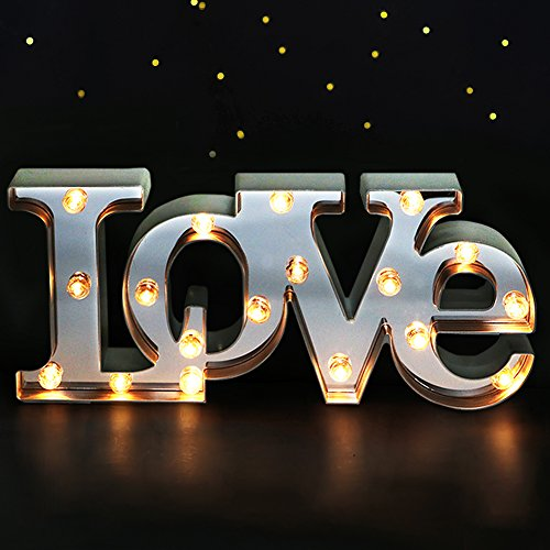 "Bright Zeal 7"" Tall Large LED Love Marquee Sign Letters (Mirror Imbedded, 6hr Timer) -Marquee Letters Lights Wedding Decorations -Decorative Signs Home Love Decor Signs Wedding Decor Lights"