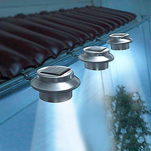 TELE WELT LED Dachrinnenleuchten 3er-Set aus Edelstahl Zaunleuchte Wegelicht Solarleuchten