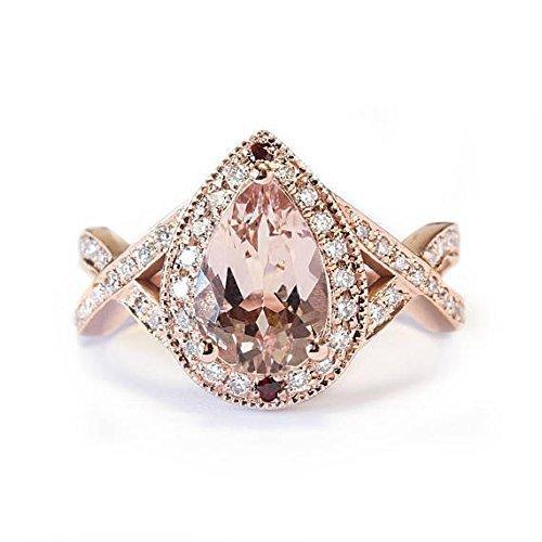 Amazon Com Pear Shape Pink Morganite Engagement Ring Twist Infinity Band Pear Morganite Rose Gold Engagement Ring Morganite And Diamond Ring Handmade