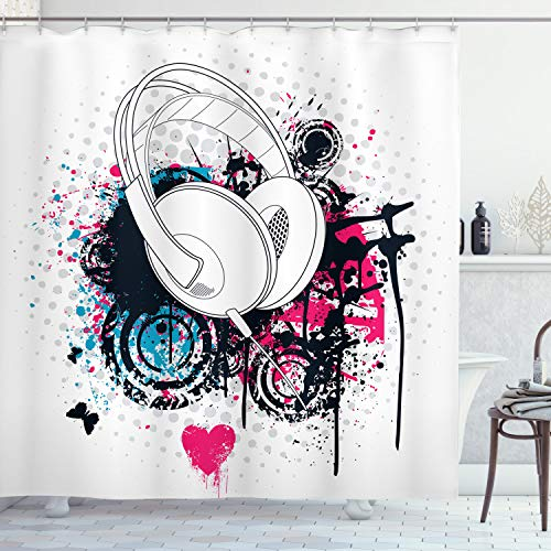 """Ambesonne Music Shower Curtain, Grunge Headphone with Digital Paintbrush Effects and Heart Nightclub Graphic, Cloth Fabric Bathroom Decor Set with Hooks, 75"""" Long, Pink Black"""