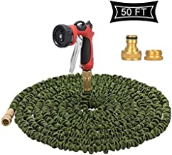 "50FT Green Garden Hose,Japan Imported Cloth Cover Expandable Water Hose with 3/4"" & 1/2"" Durable Full Solid Brass Valve Connector,Three Layer Latex Inner Tube,8 Function Metal Nozzle"