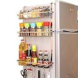 TZAMLI Edelstahl Kühlschrank Regal Gewürzregal Hängeregal mit 3 Ablagekörben, Küchenregal Hängend Küche Kühlschrank Organizer Platzsparend (Silber, B-3 Etagen)