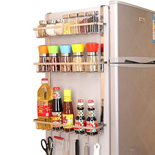 TZAMLI Scaffale in acciaio inox per frigorifero e spezie, con 3 cestini, mensola da cucina, da appendere, salvaspazio (argento, B-3 ripiani)