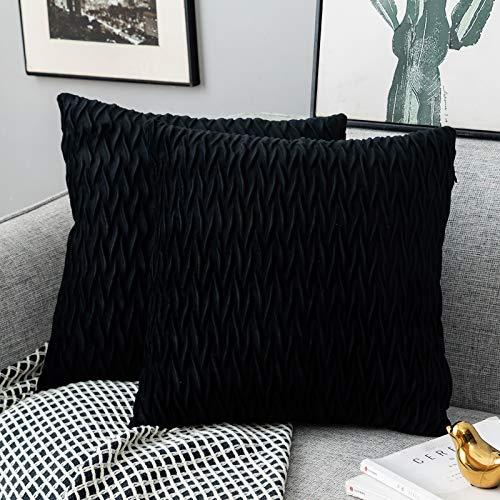 Yamonic Kissenbezüge Set Samt Soft Solid Dekorative Kissen Fall für Sofa Schlafzimmer 40cmx40cm 2er Pack für Couch Bett Sofa Stuhl Schlafzimmer Wohnzimmer, Schwarz