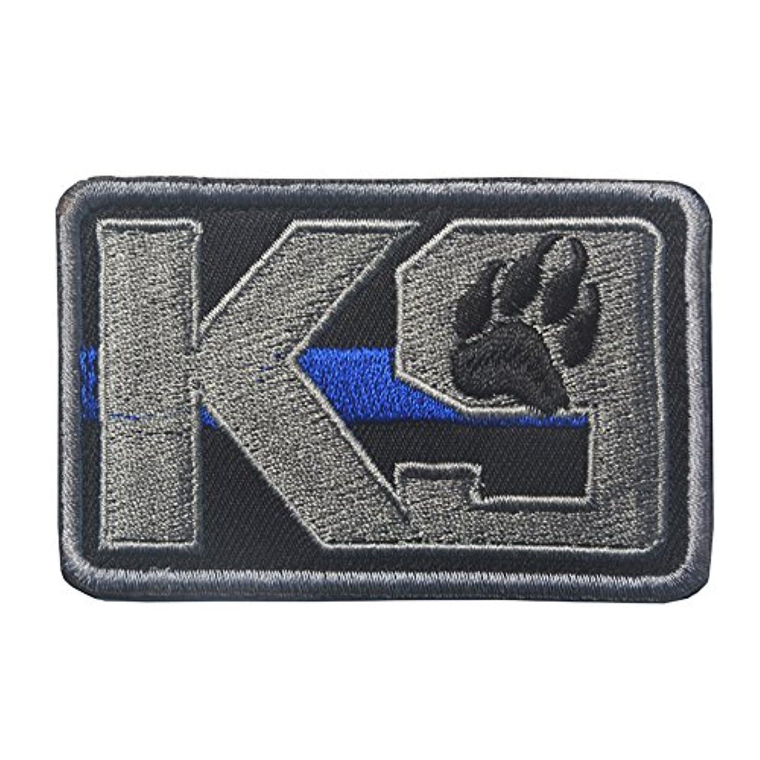 K9 & Crossbone Killer Attack Police Dog Fastener Patch Embroidered Army SWAT Morale Hook Loop Backing Tactial Badge SWAT for Service Animal Vest (K9 Blue line)
