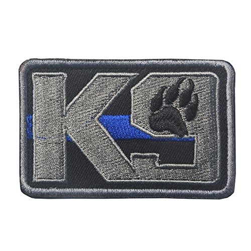 K9 & Crossbone Killer Attack Police Dog Fastener Patch Embroidered Army Swat Morale Hook Loop Backing Tactial Badge Swat for Service Animal Vest (K9 Blue line)