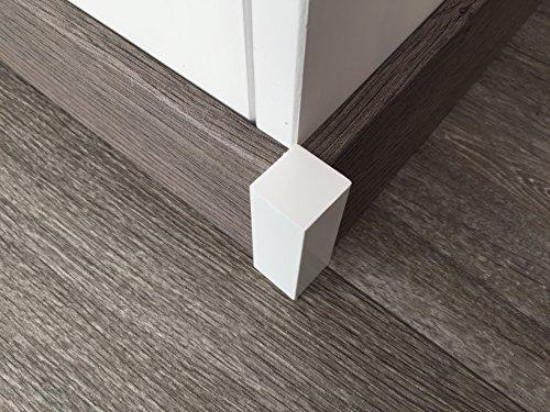 Eckstäbe für Sockelleisten   weiß 4 Stück   als Eckstück oder Endstück passend zu MDF-Leisten bis 60-mm   Fußbodenleisten Eck-Stab hell, Abschluss oder Verbindungs-stück