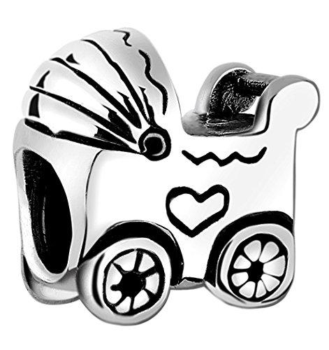 Nenalina Kinderwagen Bead glänzend teilweise oxidiert 925 Sterling Silber, auch kompatibel für Pandora Beads Armbänder, 719057-000
