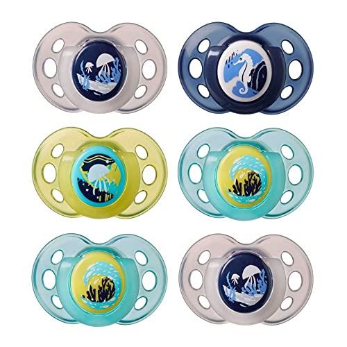 Tommee Tippee Chupetes de Noche, Night Time, Fluorescentes, Diseño Simétrico, Silicona sin BPA, Azul/Verde , 18 – 36 Meses, Pack de 6