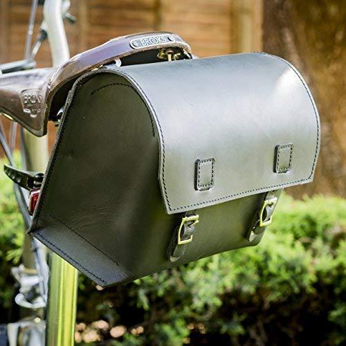 London Craftwork Negro Sill/ín de Bicicleta Bolso Piel Aut/éntica Estilo Vintage Broo-Bl