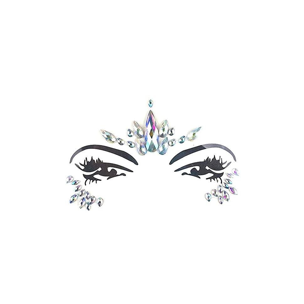 嵐の飼い慣らすシアーSILUN フェイスダイヤモンドステッカー一時的 宝石 キラキラ 環境 優しい樹脂クリスタルラインストーンフェイスステッカー音楽祭 ホリデーパーティーダンス眉フェイス接着剤
