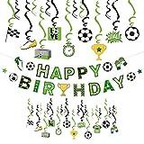 SUNBEAUTY Fussball Geburtstag Deko Kindergeburtstag Deko Jungen Happy Birthday Banner Spiralen Kindergeburtstag Partyzubehör Fußball Party Dekoration