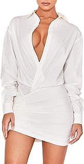 UONBOX Women's Long Sleeves Deep V Neck White Draped Shirt Dress