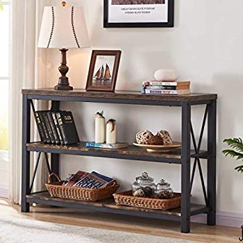 BON AUGURE Industrial Sofa Console Table 3 Tier Horizontal Entry Tables with Open Shelf Rustic Entryway/Hallway Table for Living Room  47 Inch Rustic Oak