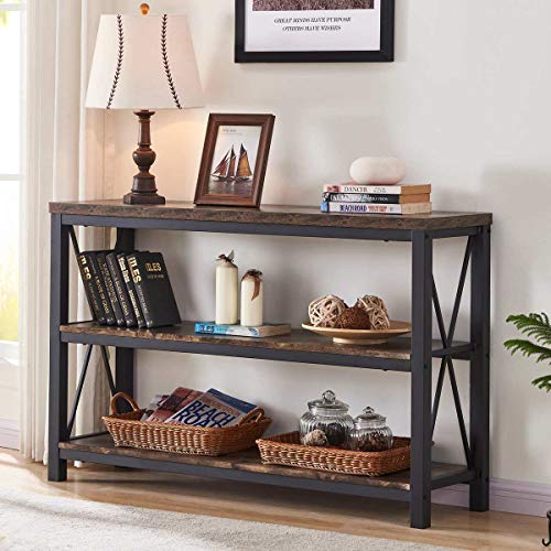 BON AUGURE Industrial Sofa Console Table, 3 Tier Horizontal Entry Tables with Open Shelf, Rustic...