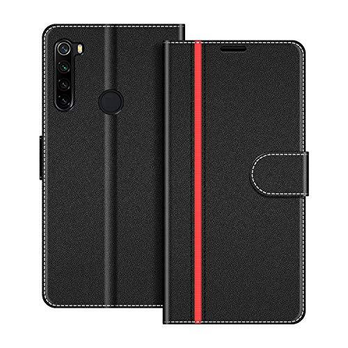 COODIO Handyhülle für Xiaomi Redmi Note 8 Handy Hülle, Xiaomi Redmi Note 8 Hülle Leder Handytasche für Xiaomi Redmi Note 8 Klapphülle Tasche, Schwarz/Rot