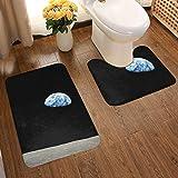 Juego de alfombrillas de baño de franela con diseño de fans artísticos, 8 alfombras de baño antideslizantes de NASA Moon para entrada y lavables, 2 unidades