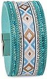 styleBREAKER weiches Armband mit Strasssteinen, Ketten- und Ethno Stoff Element, Magnetverschluss, Damen 05040046, Farbe:Türkis