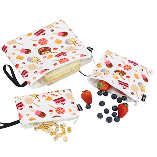 3Pcs Reusable Snack Bags Lunch bags,Cake